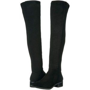 STEVE MADDEN Black Faux Suede Over The Knee Boots